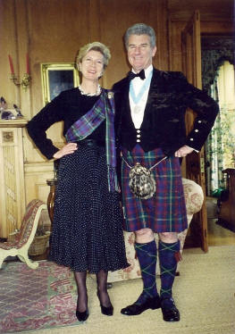 Marguerite and Andrew in Durie tartan